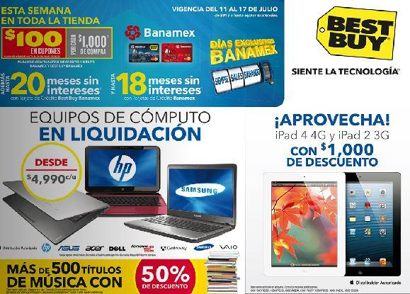 Best Buy: $100 x cada $1,000 con Banamex, descuentos en pantallas LG y +