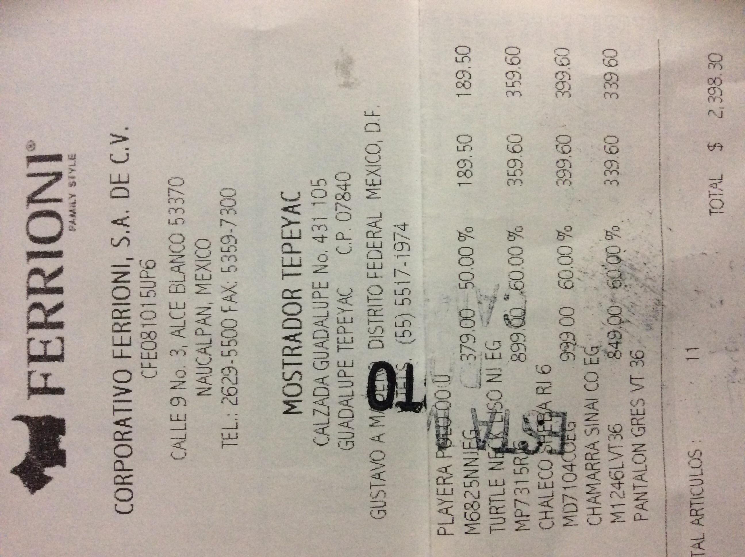 Ferrioni Tepeyac: Descuentos de 50%+20% en toda la tienda