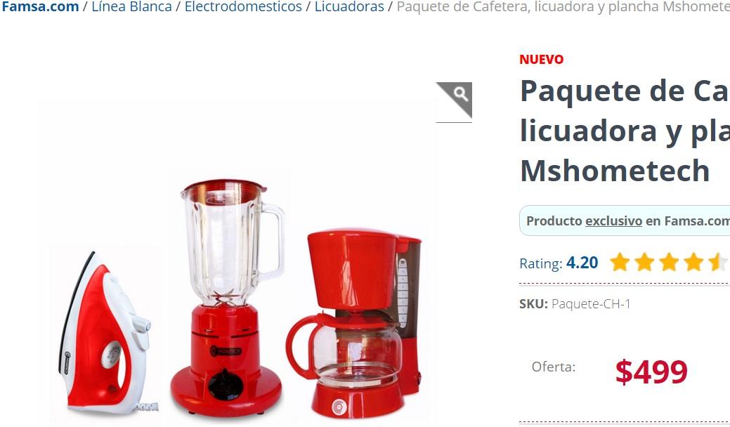 Famsa: Paquete de Cafetera, licuadora y plancha Mshometech en $499