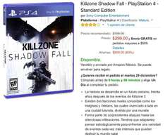 Amazon: Killzone Shadow Fall PS4 a $299