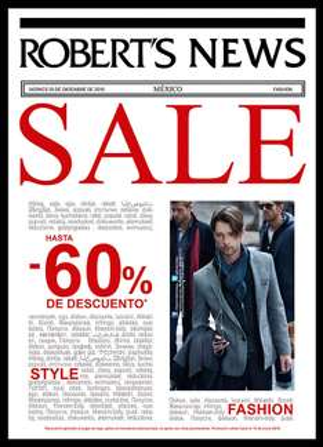 Tiendas Roberts: Venta especial con descuento de hasta 60% en mercancía seleccionada