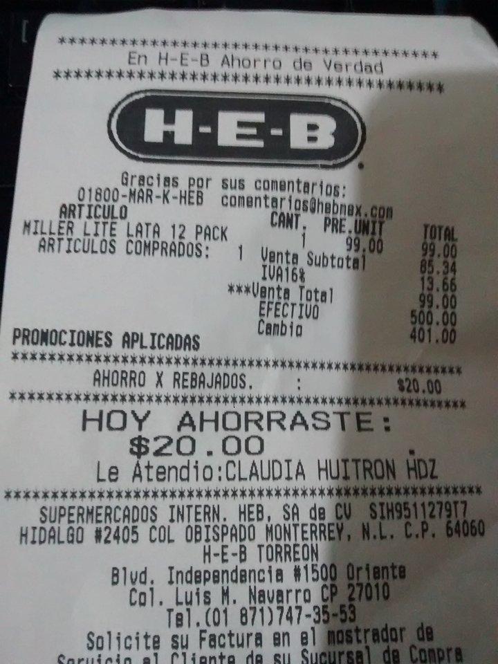 HEB: Cerveza 12 pack Miller Lite a $99 y otras ofertas en cerveza