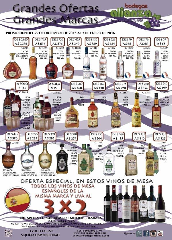 Bodegas Alianza: descuento en varios licores y 3x2 en vinos españoles