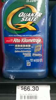 Chedraui: aceite Quakerstate 20w-60 doble pack $66.30