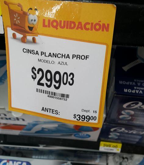 Walmart Mérida paseo de montejo: Descuentos en Planchas, ej. Cinsa $299.03