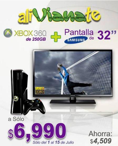 """Viana: pantalla LED Samsung 32"""" $4,599 o paquete con Xbox 360 y Kinect a $6,990"""