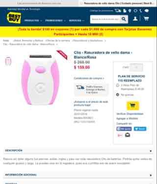 Best Buy: Rasuradora de vello Clío para dama a $159