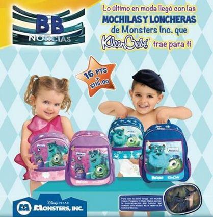 Huggies y Kleen Bebé: mochilas y loncheras Monsters Inc