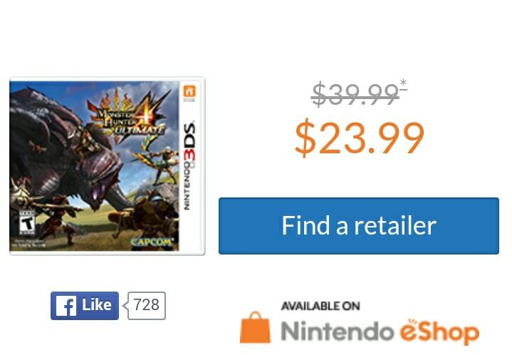 Nintendo eShop: Monster Hunter 4 3DS al 50%