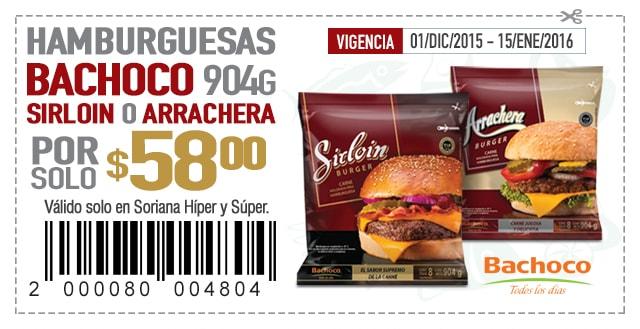 Soriana: Hamburguesas Sirloin o Arrachera 900g $58