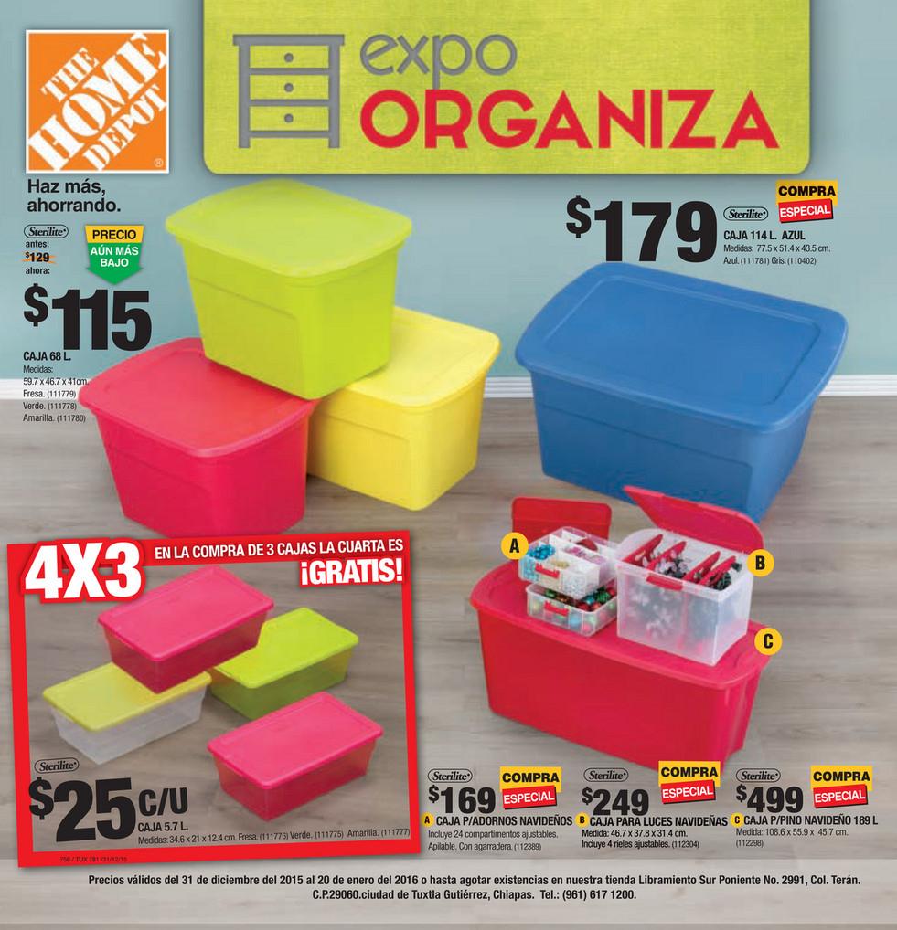 The Home Depot (Expo Organiza): 4x3 en cajas organizadoras y más