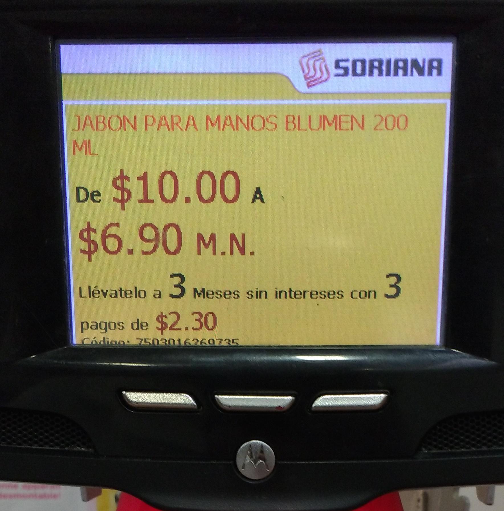 Soriana: Jabón líquido Blumen 200 ml de $10.00 a $6.90