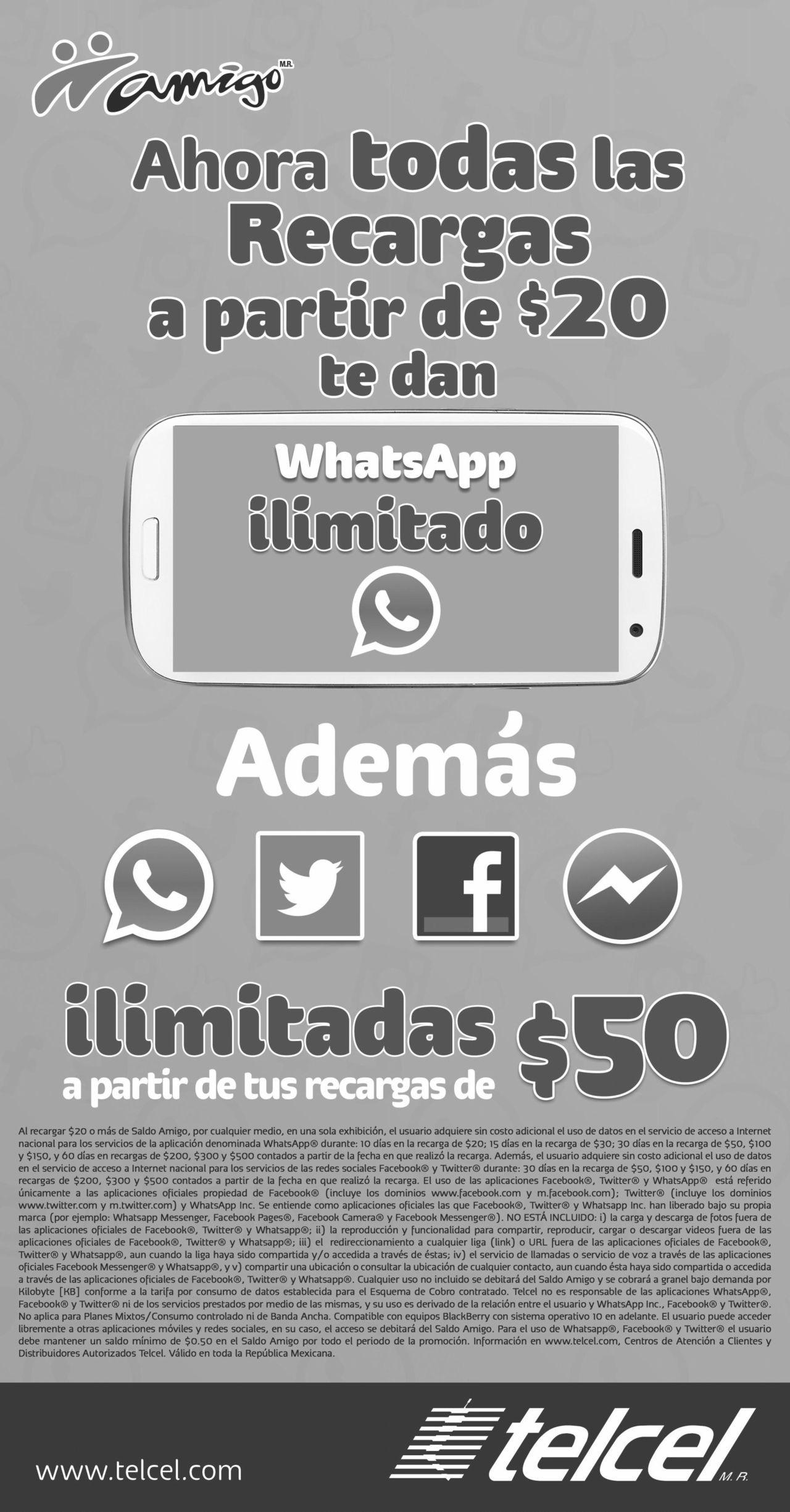 AHORA TODAS LAS RECARGAS TELCEL A PARTIR DE $20 PESOS WHATSAPP ILIMITADO