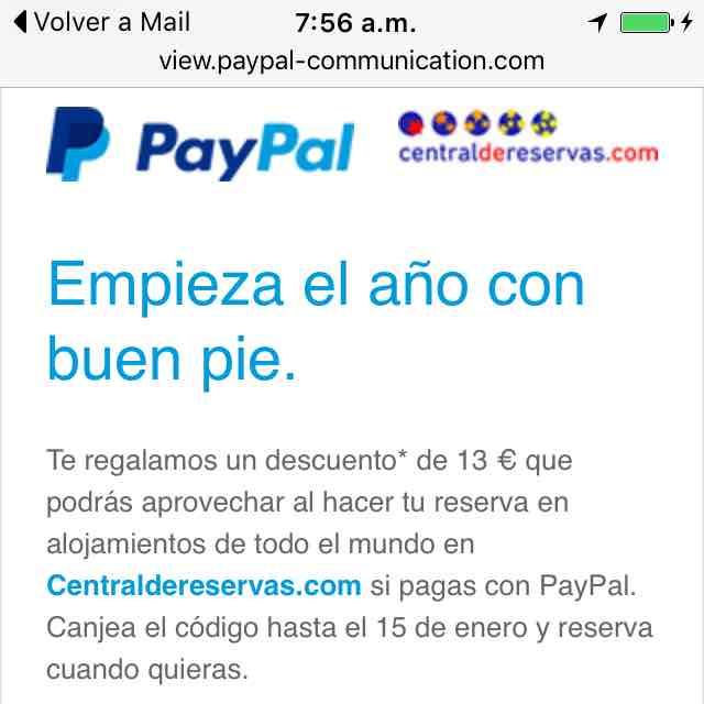 Centraldereservas.com: $250 de descuento pagando con PayPal