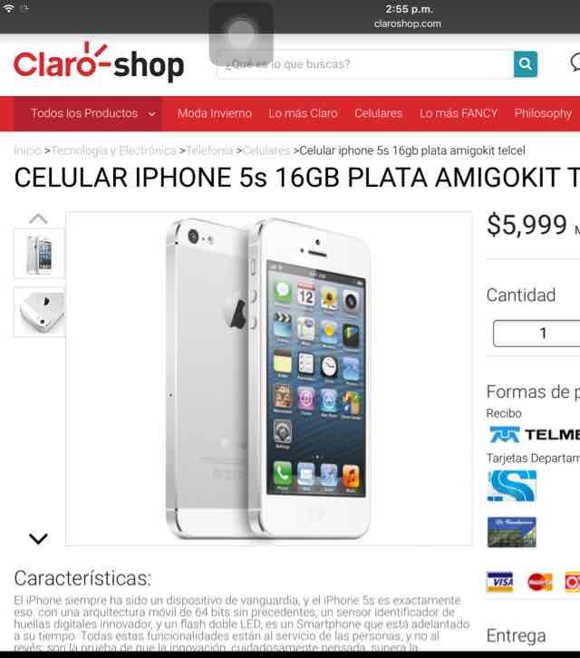 Claro Shop: iPhone 5s 16 GB $5999 Amigo Kit Telcel
