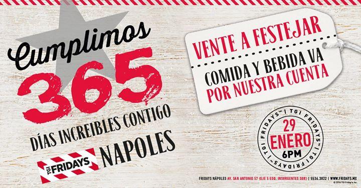 TGI Friday's Nápoles: comida y bebida gratis el 29 de enero a partir de las 6