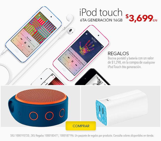 Best Buy: bocina portatil y bateria de regalo en la compra de cualquier iPod touch 6
