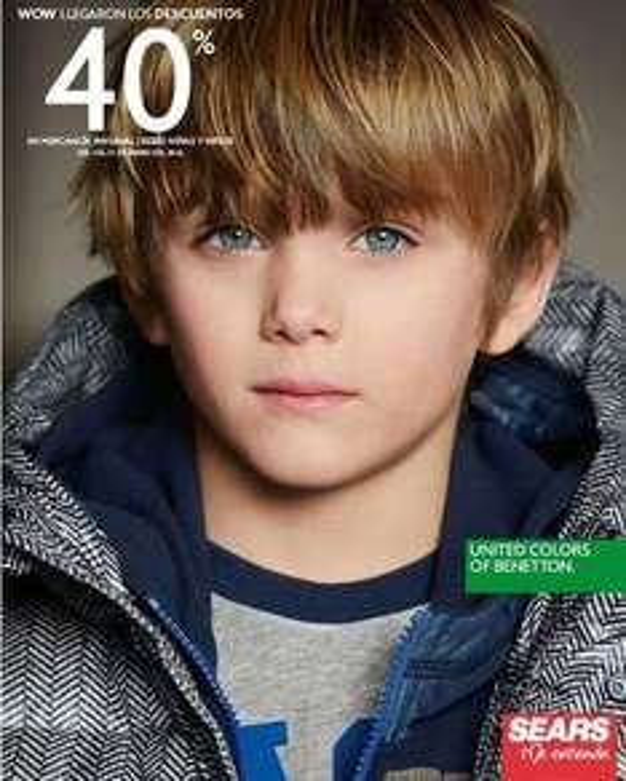 Sears: 40% de descuento en mercancía invernal de Bebés, Niñas y Niños Benetton