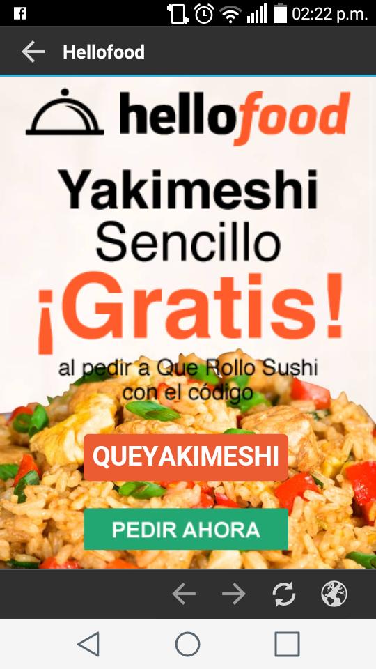 Hellofood: Cupón para Yakimeshi Gratis comprando en QueRolloSushi