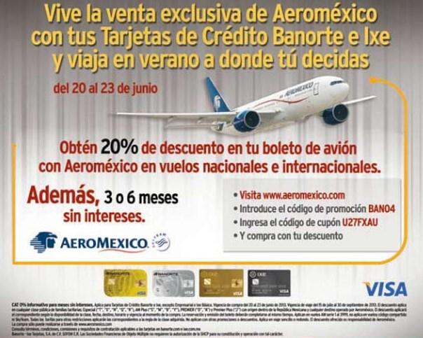 Aeroméxico: 20% de descuento con tarjetas Banorte e IXE