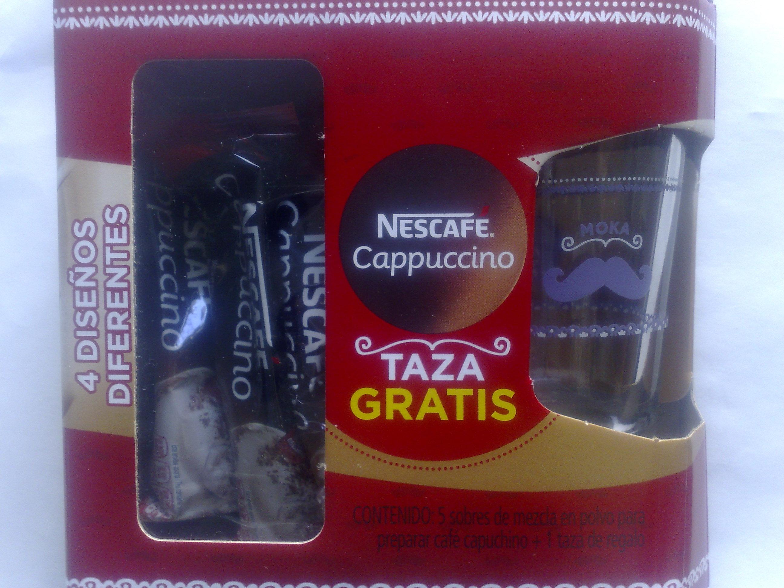 Bodega Aurrerá: 5 sobres nescafe cappuchino + taza