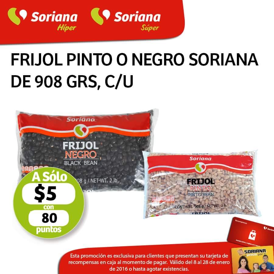 Soriana: frijol negro o pinto de 908 grs cada uno a $5 con 80 puntos