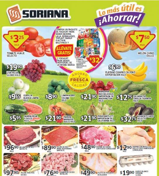 Ofertas de frutas y verduras en Soriana del 5 al 7 de agosto