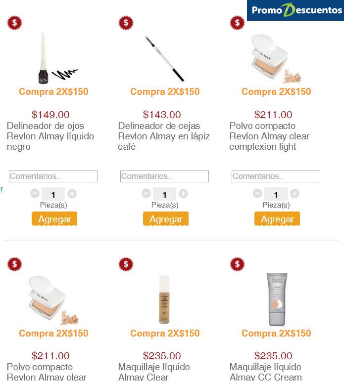 Superama 2x$150   variedad de delineadores, rubores, sombras, bases y maquillajes 2x$250 y 2x$330 en mascaras de pestañas y mas...
