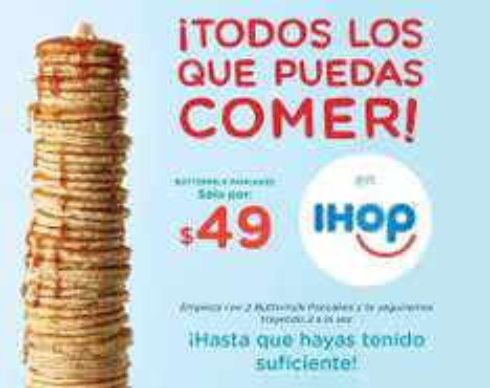 Todos los hotcakes que puedas por $49 en IHOP