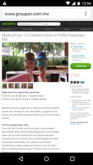 Groupon: Dos helados dobles thrifty por $60 ahorras 50%