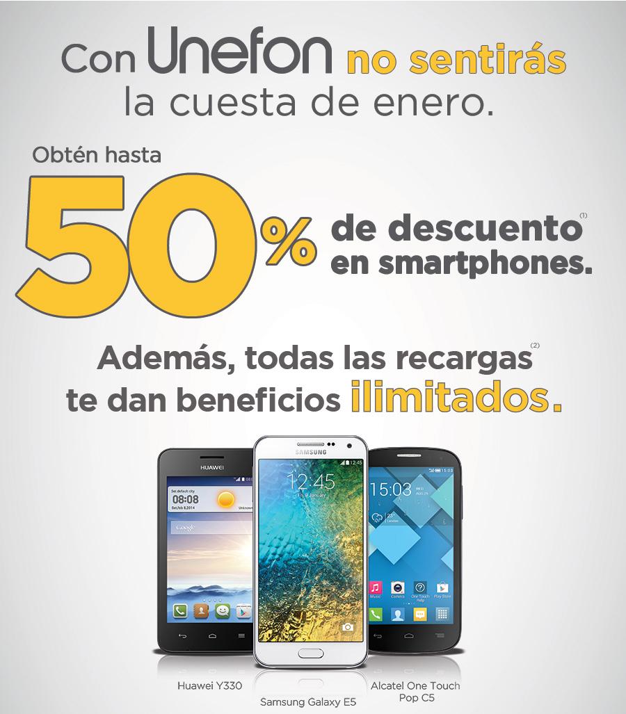 Hasta 50% de descuento en algunos smartphones Unefon