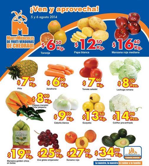Ofertas de frutas y verduras en  Chedraui 5 y 6 de Agosto