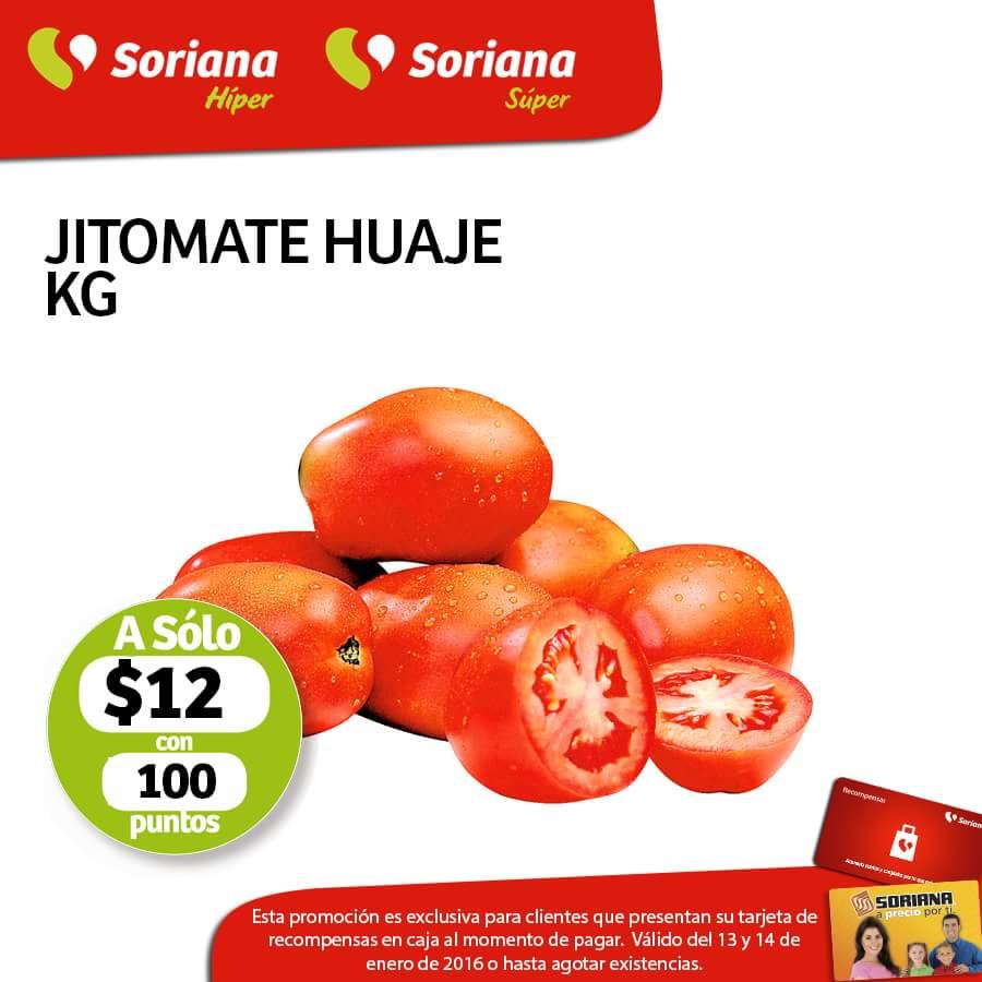Soriana Hiper y Super: frutas y verduras al 14 de Enero: jitomate huaje a $12 con 100 puntos