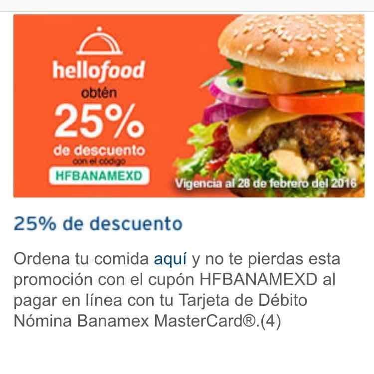 Hellofood 25% descuento Banamex