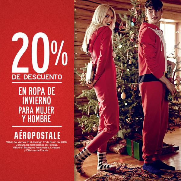 Aéropostale: 20% de descuento en ropa de invierno (extra en rebajas)