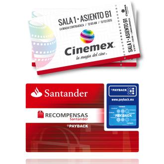 PAYBACK Santander Boleto gratis para Cinemex