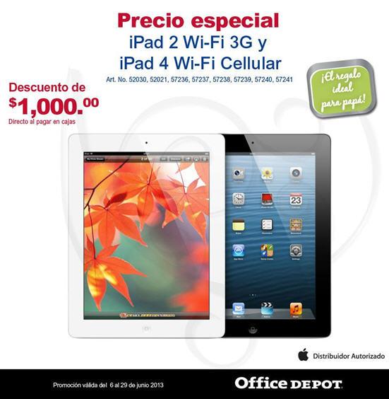Office Depot: $1,000 de descuento en iPads con red celular