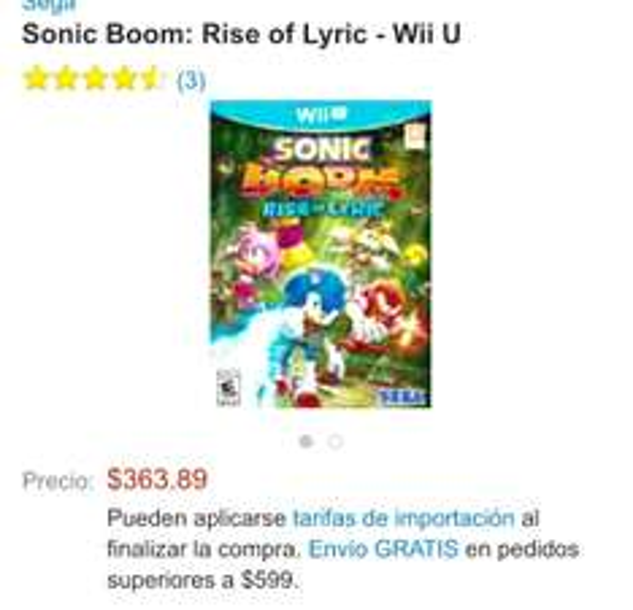 SONIC BOOM para Wii U. Amazon México