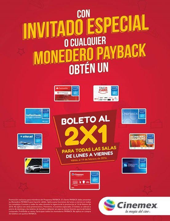Cinemex: 2x1 en TODAS las salas de lunes a viernes con Payback o Invitado especial