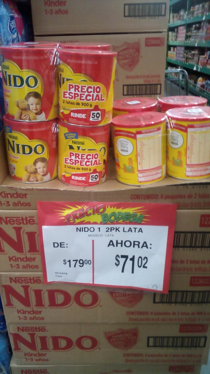 Bodega Aurrerá: 2 latas de leche Nido a $71.02