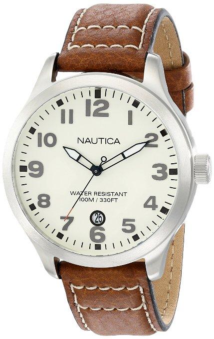 AMAZON: Nautica N09560G BDF 101 Reloj de Acero Inoxidable con Correa de Cuero Marrón para hombre