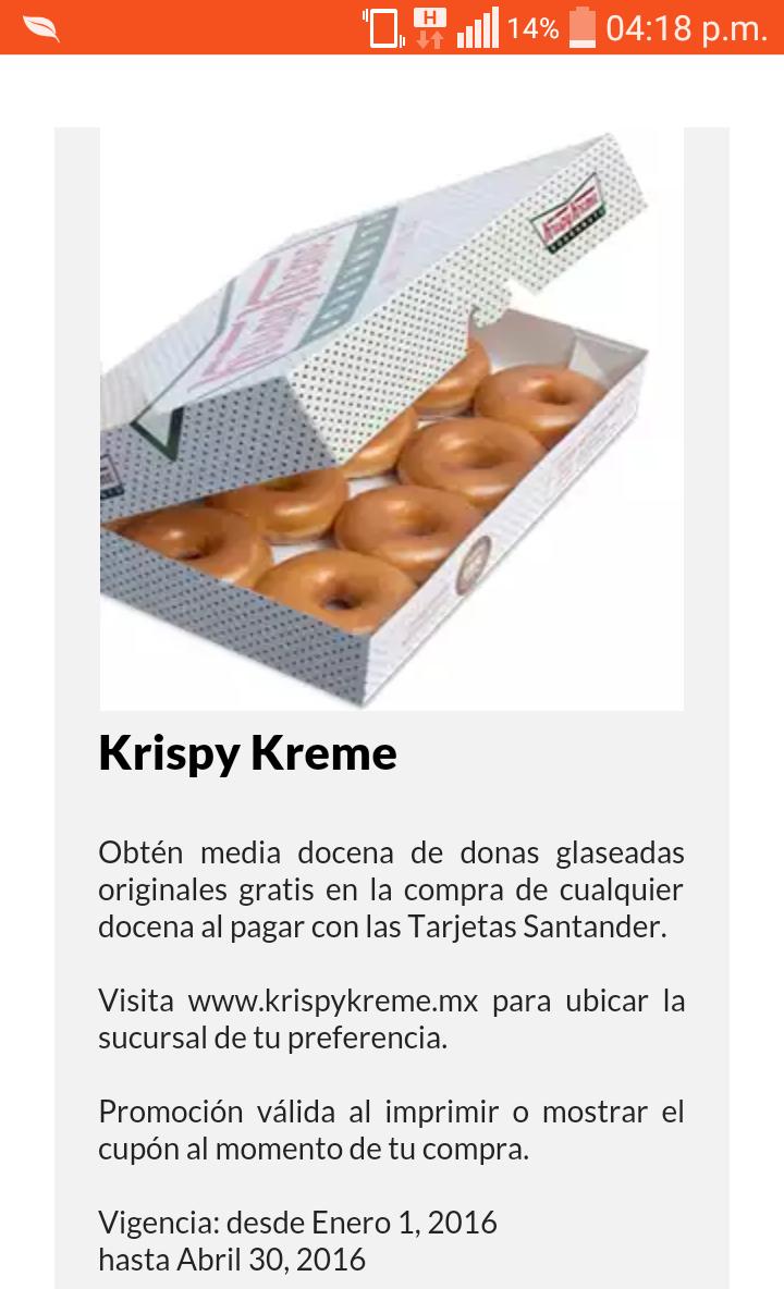 Krispy Kreme 1/2 docena gratis comprando docena con santander