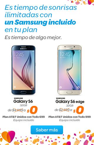 AT&T: Samsung Galaxy S6  &  S6 Edge  Sin Pago Inicial
