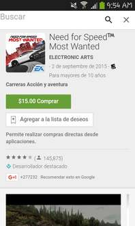 Google Play: Need for speed Most wanted $15