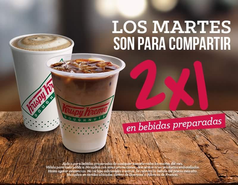 Krispy Kreme: 2x1 en bebidas preparadas los dias Martes
