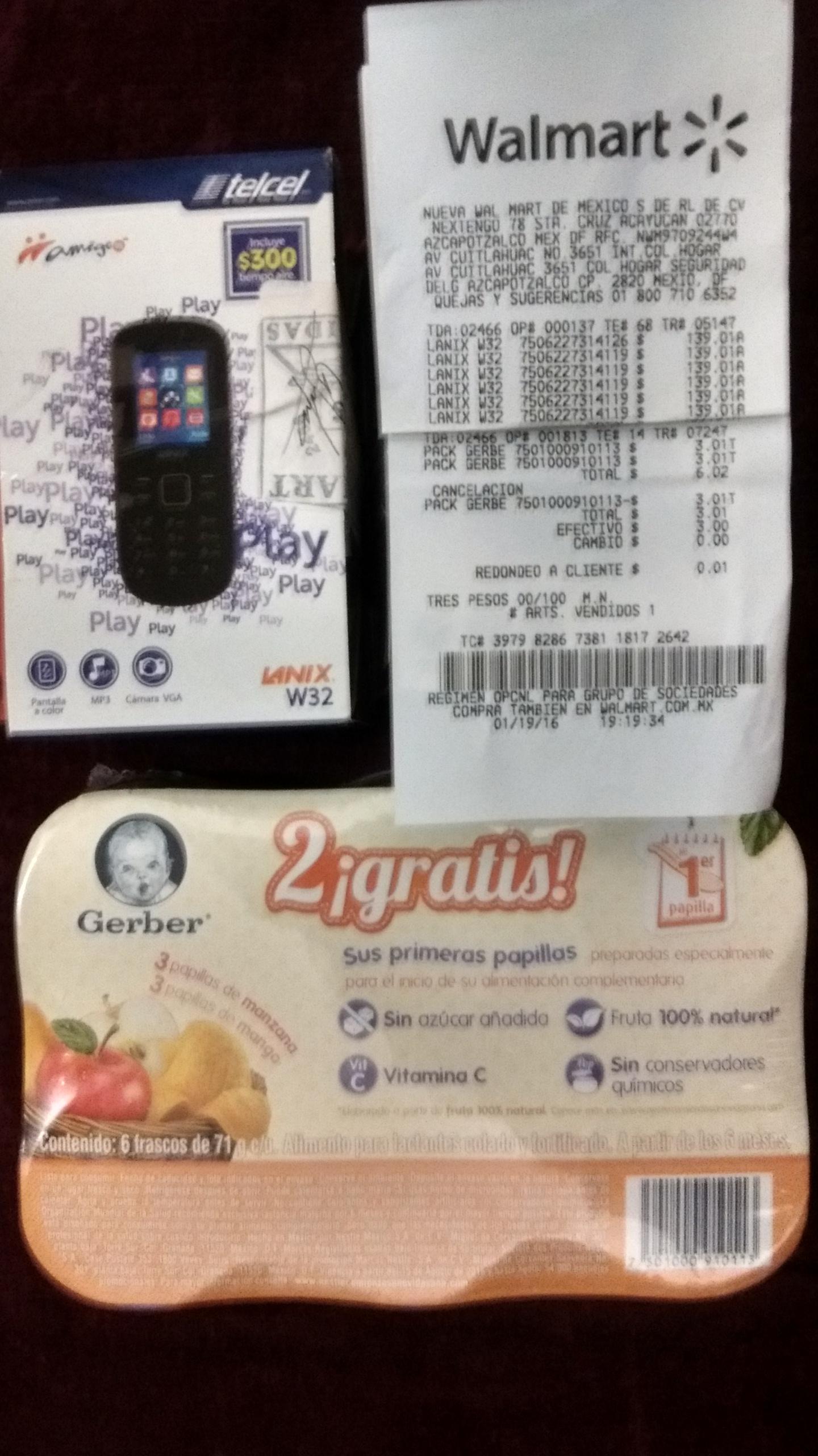 Walmart Cuitlahuac: 6 gerber etapa 1 $3.01, celular lanix w32 $139.01