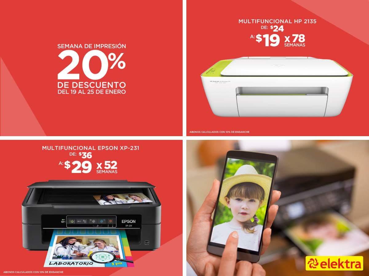 Elektra: 20% de descuento en impresoras y 15% en pantallas seleccionadas