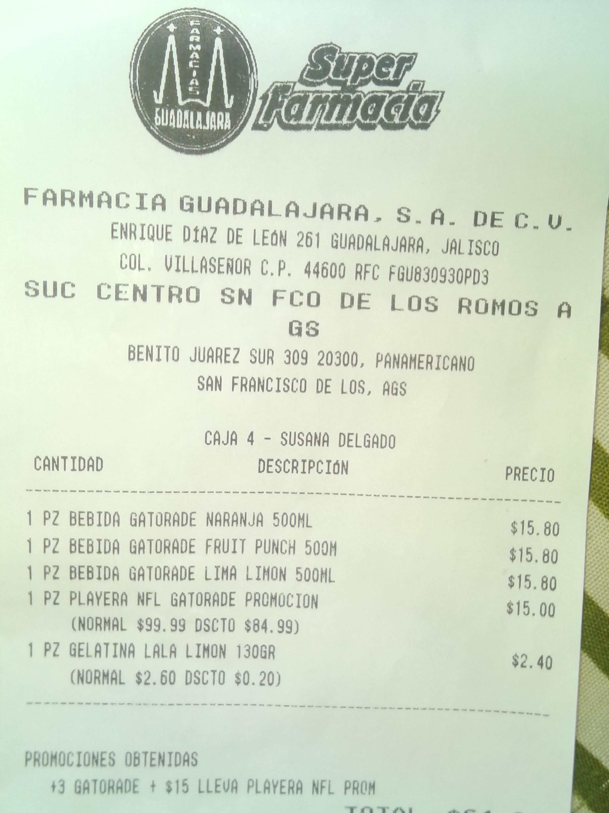 Farmacias Guadalajara: playera de la NFL a $15 comprando 3 Gatorades