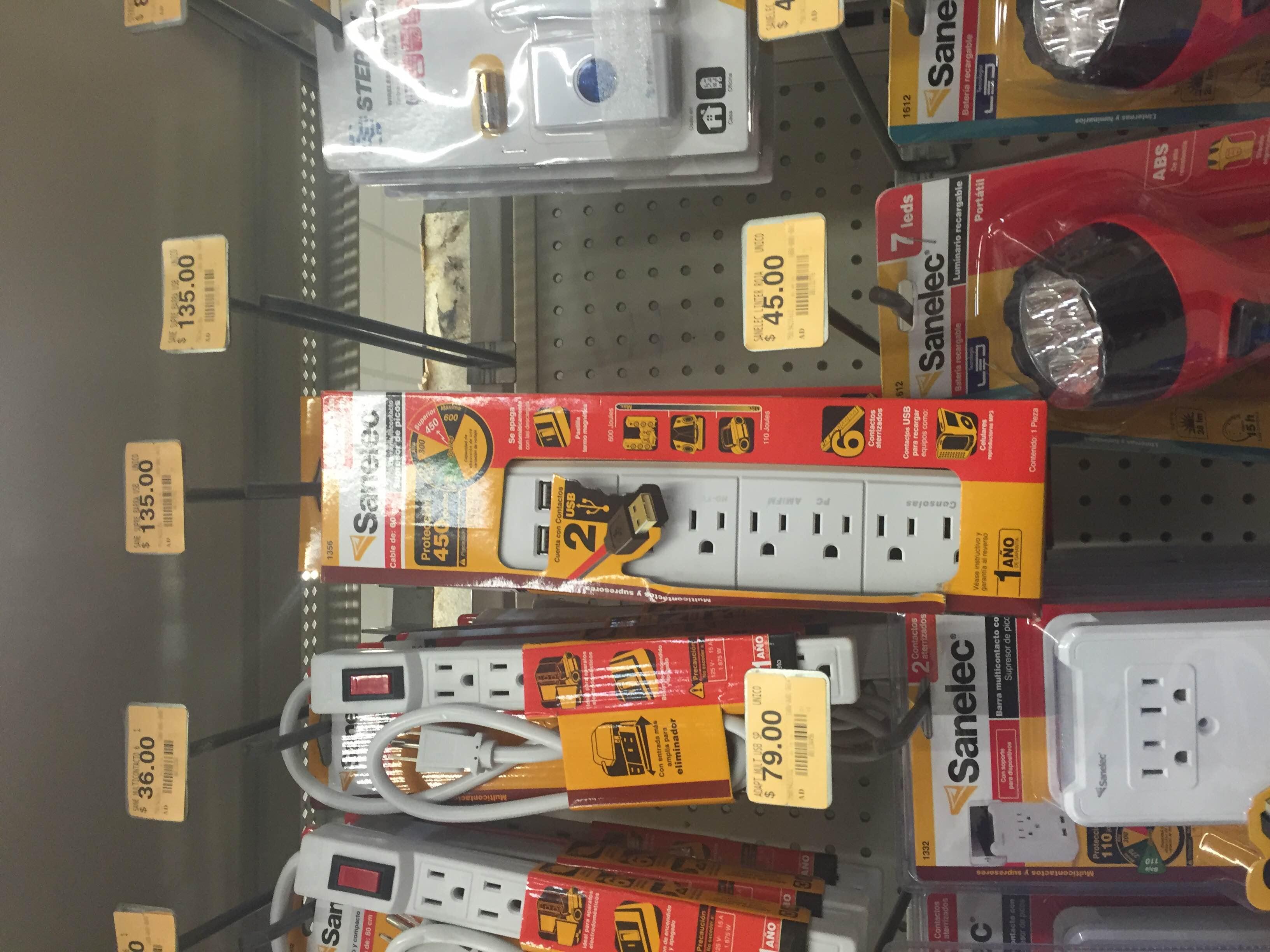 Superama: Multicontacto con 2 puertos de carga USB a $135
