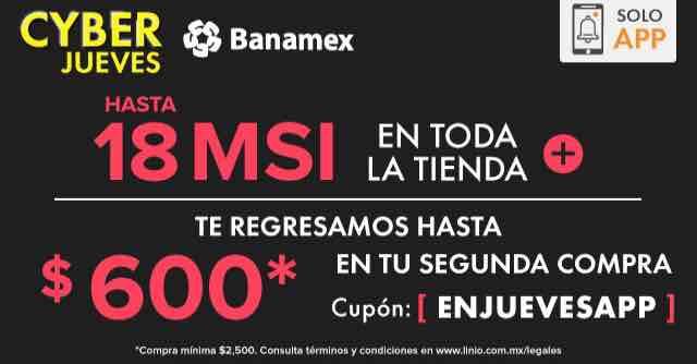Linio Cyber Jueves Banamex: 18 MSI y bonificación de $500 o $600